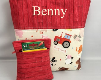 BOY's  Tote and Crayon Pouch Set ... Farm Animals ... Child Size  Bag  ...  Monogrammed  FReE .. Ring Bearer