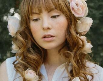 wedding silk hair flowers, bridal accessories, blush roses - Enchanted Garden no. 2204
