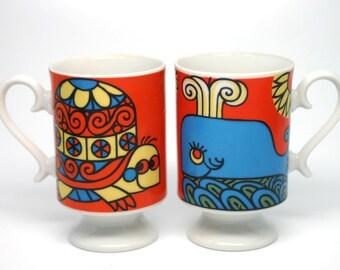 Smug Mugs by Tina Japan Turtle and Whale Design - vintage colourful set of mugs