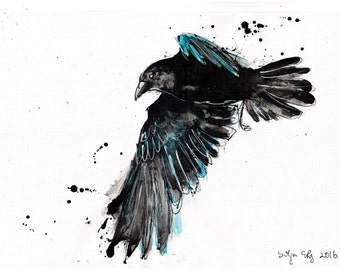 8x12in Raven watercolor painting on canvas A4 - abstract turquoise raven flying