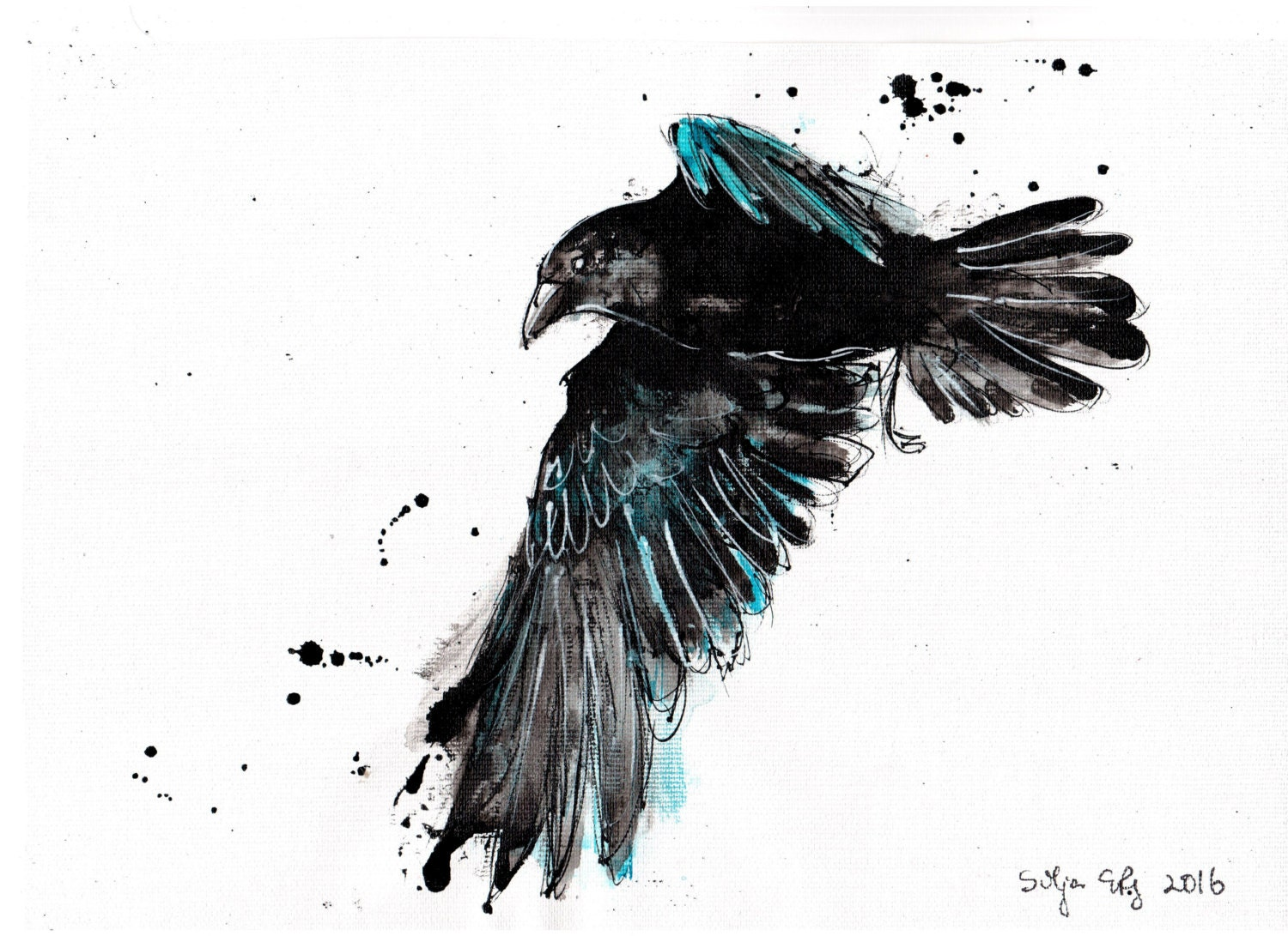 Crow painting 8x12in w...