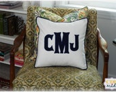 Heritage - Large Font Applique Monogrammed Pillow Cover - 16 x 16 square