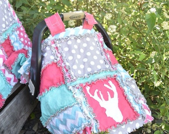 Girl Carseat Canopy Baby Blanket - Turquoise / Grey / Pink - Forest NurseryWoodland Car Seat & Car Seat Canopy Sports Rag Quilt Blanket Blue Gray Baby Boy