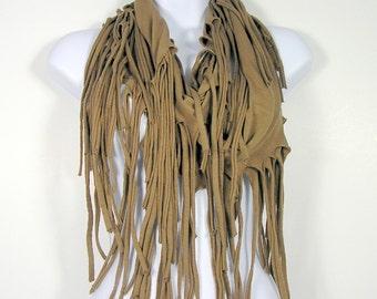 Brown Fringe Scarves Western Fringe Scarves Cotton Fringe Scarf Brown Fringe T Shirt Scarves Womens Scarves Western Scarves Infinity Scarves