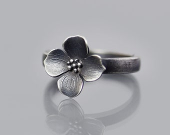 Dogwood Blossom Ring, sterling silver, botanical jewelry, dogwood flower, dainty ring, dogwood ring, flower ring, oxidized silver ring