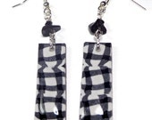 Black & White Chic Earrings- polymer clay jewelry- Handmade earrings- Gingham Earrings Ready to Ship