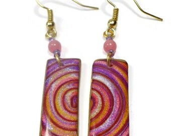Pink Swirl Dangle Earrings- polymer clay jewelry- Resin earrings- Polymer Clay Earrings- Ready to Ship- Gifts for Her