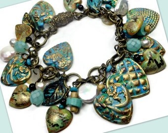 Vintage Turquoise Heart Bracelet-  polymer clay jewelry- Gifts for Her- Freshwater Pearl Bracelet- Heart Jewelry