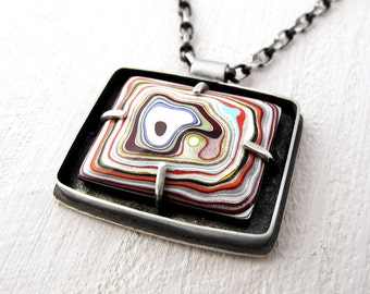 Fordite necklace, Detroit Agate necklace, fordite jewelry, girlfriend gift, sterling silver statement necklace, mens necklace, gift for him
