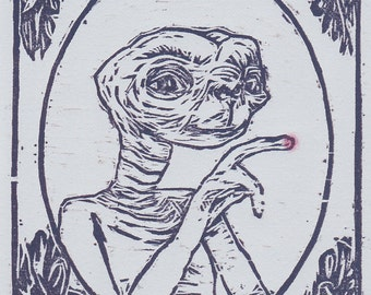original woodblock print E.T. the Extra-Terrestrial / 80s gifts / 80s movies / E.T. wall art