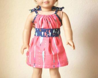 "18"" Doll Shoulder Tie Dress, with Belt, Arrows"