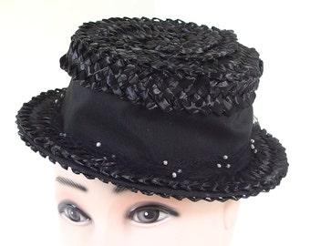 Vintage Black Hat, Straw Boater Hat