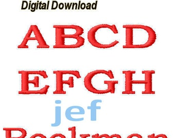"Bookman Embroidery Uppercase Only Font 1.5"" Satin Stitch, 2"" - Both Satin & Fill Stitches - jef files"