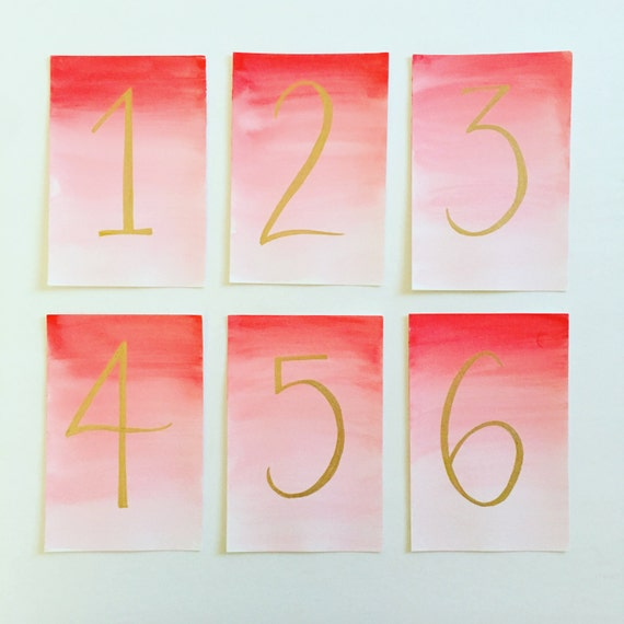 Ombre watercolor table numbers modern calligraphy
