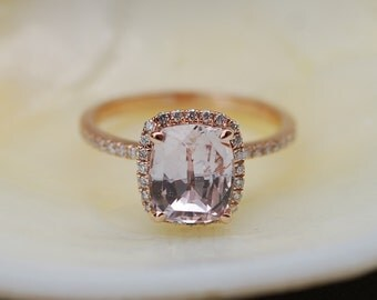 Rose gold engagement ring 2.6ct white sapphire diamond ring 14k rose gold cushion sapphire halo ring. Engagement rings by Eidelprecious