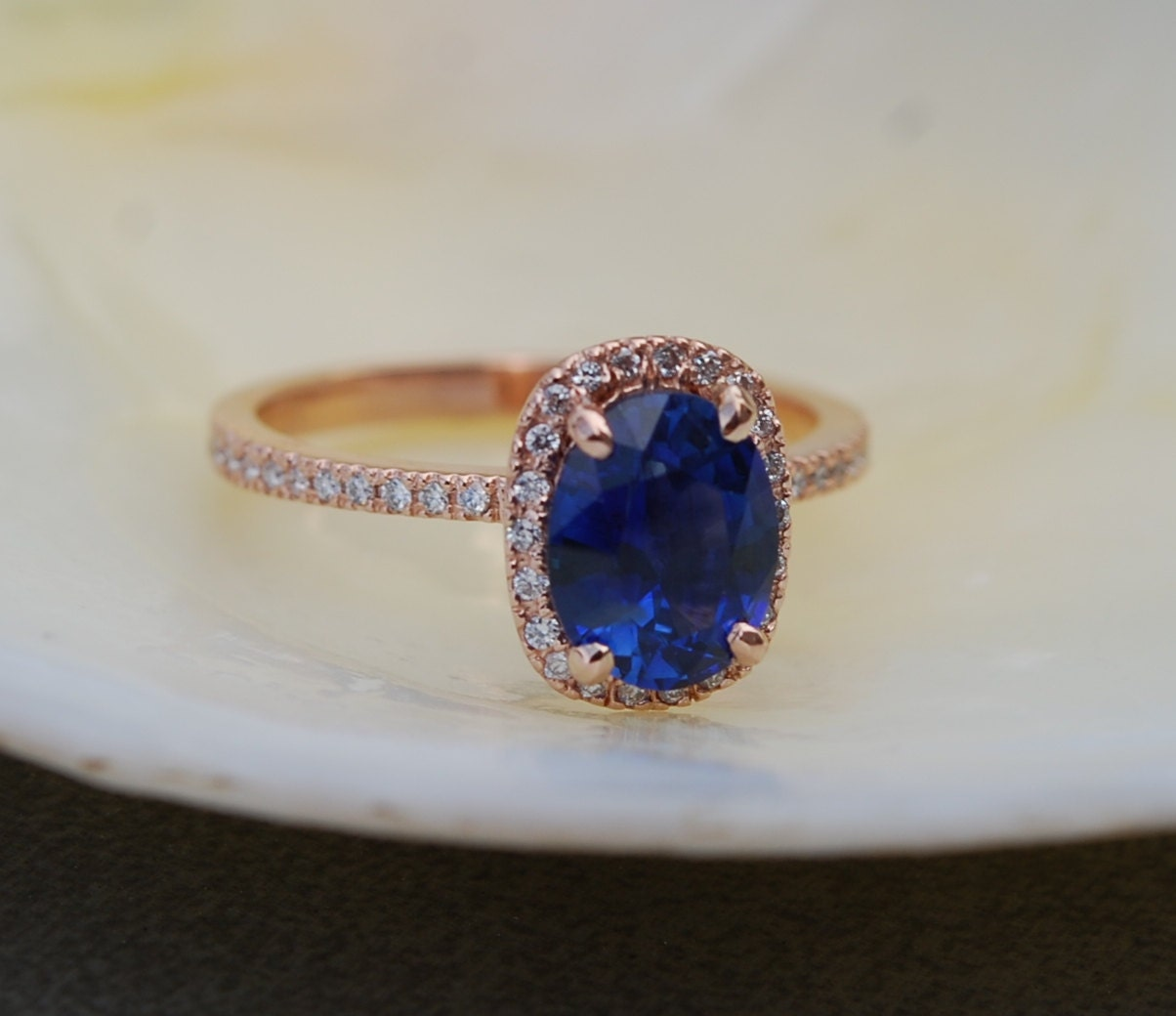Rose gold sapphire ring. 2.57ct Royal blue sapphire diamond ring 18k rose  gold oval engagement ring. Engagement rings by Eidelprecious.