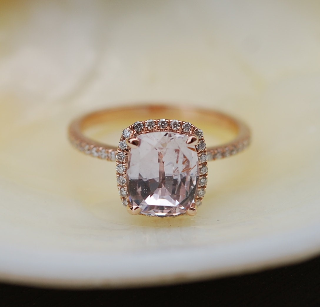 Rose Gold Engagement Ring 26ct White Sapphire Diamond Ring 14k Rose Gold  Cushion Sapphire Halo Ring Engagement Rings By Eidelprecious