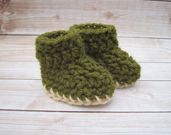 Crochet Baby Booties, Baby Boy Booties, Crochet Booties, Green Baby Booties, Newborn Boy Booties, Infant Booties, Baby Boy Crib Shoes, Boots