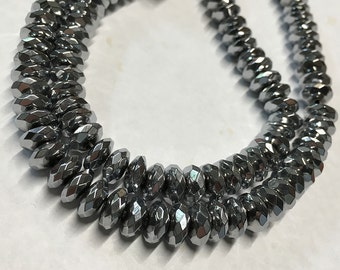 Hematite AA Quality Silver Rondelles 8x4mm Approx 50 pcs 8 Inch Strand