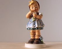 Goebel Hummel figurine. Daisies Don't Tell #382 Special Edition. 1970s German collectible porcelain girl.