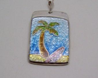 Cloisonne enamel jewelry necklace pendant.