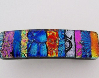 Very Small dichroic glass hair barrette