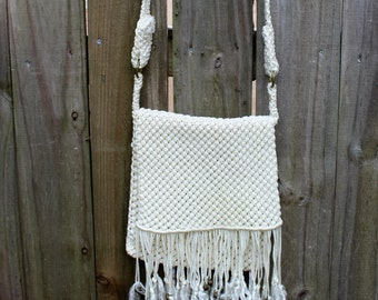 Hippy bohemian cream handmade macrame purse with fringe and bells