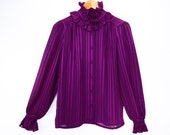 80's RUFFLE COLLAR purple blouse // striped semi-sheer blouse // vintage Victorian style // size S M