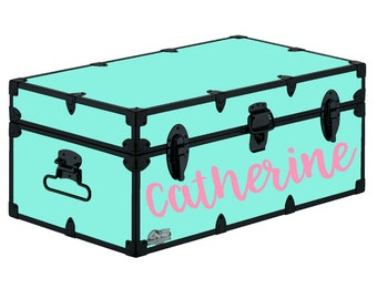 Personalized Camp Trunk Decal - Custom Name Decal - Brush Lettering Name - Hand Lettering Font - Summer Camp Trunk - Happy Camper -