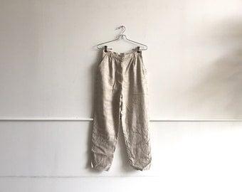Vintage Linen Trousers. Classic High Waist, 80s / 90s.