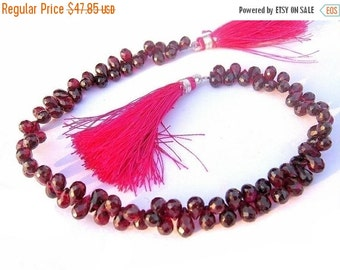 55% OFF SALE 1/2 Strand - Genuine Garnet Faceted Tear Drop  Briolettes Size 6x5 - 9x5mm approx
