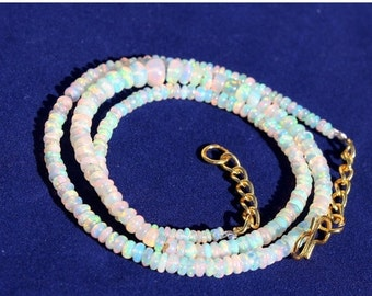 """55% OFF SALE 16.50"""" Natural Multi Color Play Ethiopian Welo Fire Opal Smooth Rondelle Beads Necklace Fine Quality Wholesale Price OPB12"""
