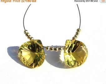 50% Off Valentine day 2 Pcs Match Pair 15mm AAA Lemon Quartz Concave Cut Heart Briolettes AAA Gemstone Briolette Concave Cut Beads