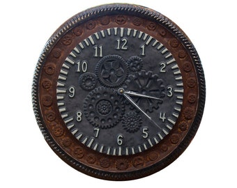 "Gears Ceramic Wall Clock in Metal & Rust Glazes (15"" diameter)"
