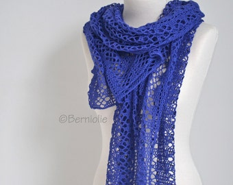 Lace knitted shawl, Blue, N403