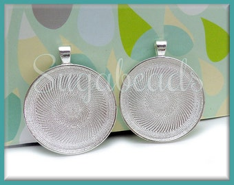 6 pcs Round 1.5 Inch Silver Plated Pendant Trays - Silver Plated Cabochon Trays 38mm