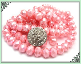50 Soft Pink Beads - Faceted Rondelle Beads, Pearl Coat Rondelles - Pink Glass Beads GB8