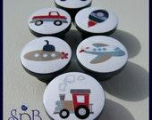 Transportation Knobs • Airplane • Rocket • Truck • Train • Submarine • Kids Dresser Knobs • Drawer Pulls • Boys Knobs