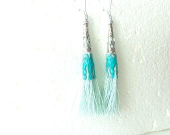 Mint Turquoise tassel long earrings filigree earrings tassel earrings colorful earrings