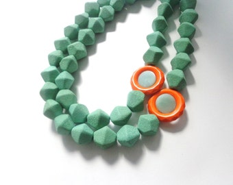Green Orange statement necklace, chunky necklace double strand