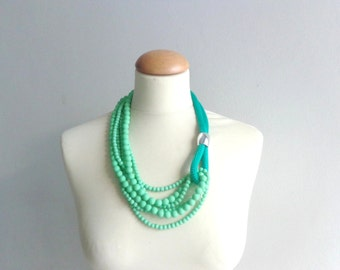 green Statement necklace longer style