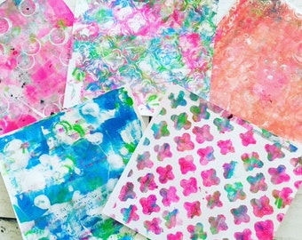 Original Gelli Art Prints - Monoprint Ideal for Collage, Art Journalling, Mixed Media and More Set of 12 Sheets