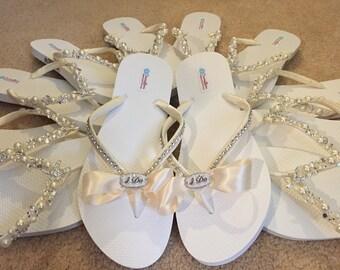 So Sweet Bride I DO Ivory Bridal Wedding Flip Flops