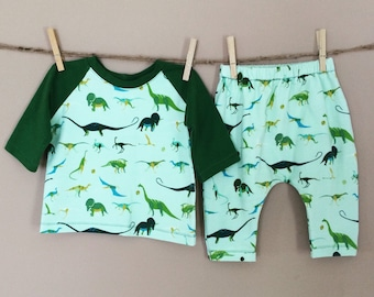 Sunday West - free ride set : raglan tee and harem pants - available in infant and baby sizes - dino
