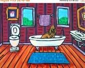 Bloodhound Taking a Bath Dog Art Print   JSCHMETZ modern abstract folk pop art gift