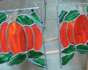 Pumpkin Corners - Stained Glass Pumpkins for Corners of Windows - 2 Stained Glass Pumpkin Corners