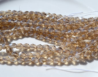 Champagne Luster 6mm Faceted Fire Polish Round Czech Glass Beads  25