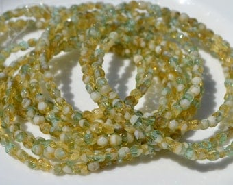 Sand and Turquoise 4mm Faceted Fire Polish Round Czech Glass Beads  50