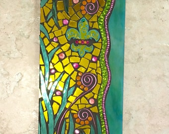 Stained Glass Mosaic Mirror Wall Hanging Sea Life yellow green