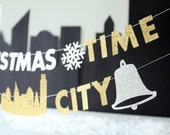 Silver Bells MINI Christmas Banner, Its Christmas Time in the City Glitter Letter Garland, Holiday Apartment Decor, Office Cubicle Accessory